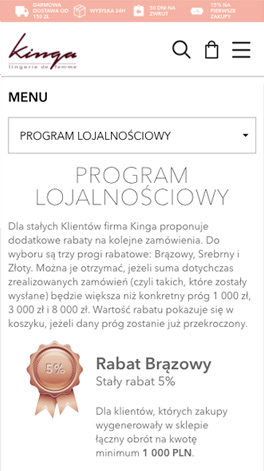 Kinga.com.pl - Loyalty programme