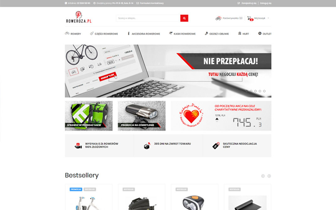 roweroza.pl - wygląd desktop