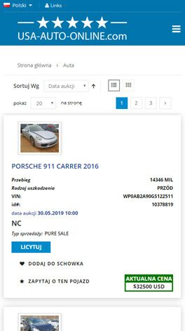 USA-AUTO-ONLINE.com Polska - mobile